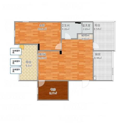 恋日风景2室1厅1卫1厨117.00㎡户型图