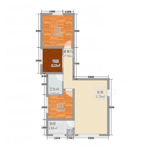 天馨逸家3室1厅1卫1厨62.03㎡户型图