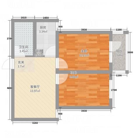 天馨逸家2室1厅1卫1厨75.00㎡户型图