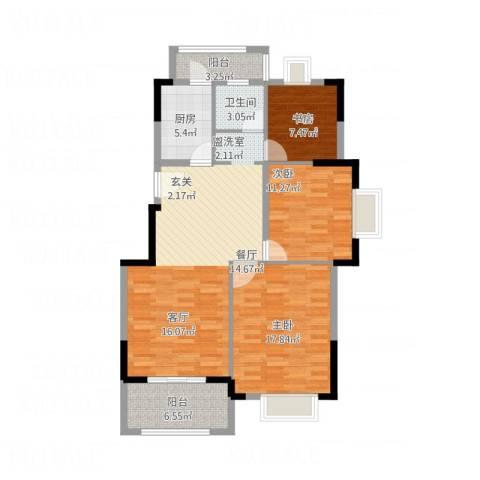 香水郡3室1厅1卫1厨124.00㎡户型图