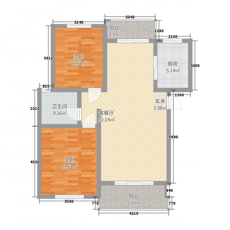 圣地亚哥2.00㎡A户型2室2厅1卫1厨