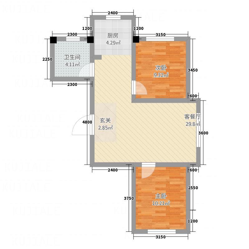 巴黎庄园73.20㎡户型2室2厅1卫