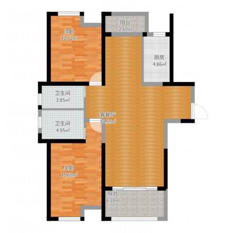 嘉宝梦之湾2室1厅2卫1厨126.00㎡户型图