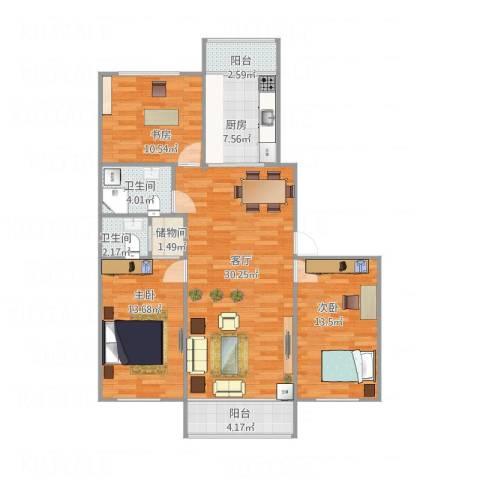 和苑3室1厅2卫1厨121.00㎡户型图