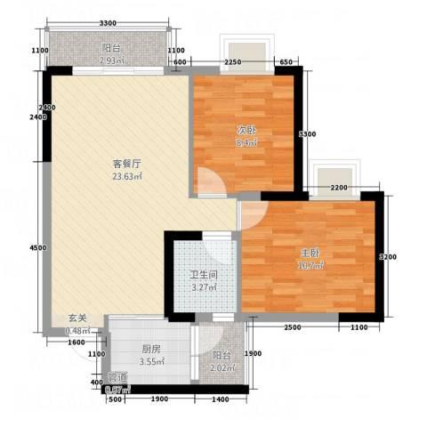 文泉西海岸2室1厅1卫1厨66.00㎡户型图