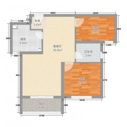 交通・未来城2室1厅1卫1厨84.00㎡户型图