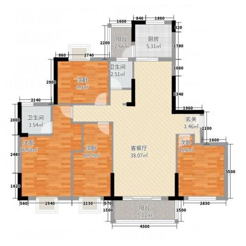 东江御城4室1厅2卫1厨1414.00㎡户型图