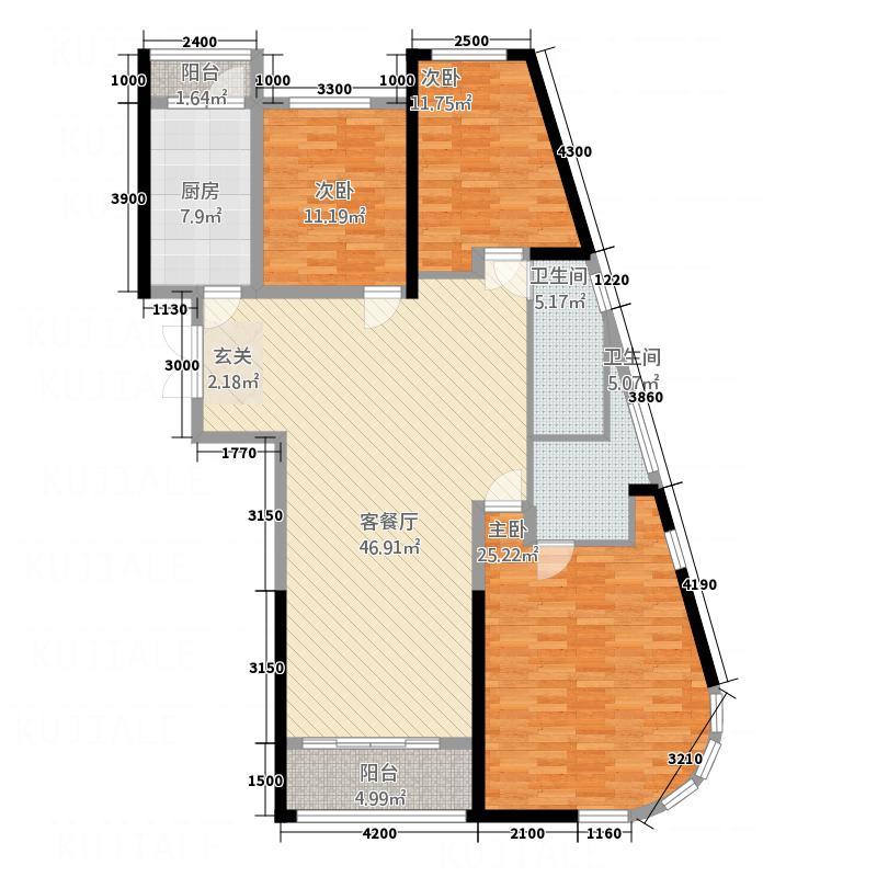 领先国际155.77㎡户型4室2厅2卫