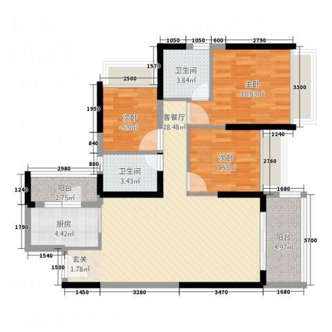永福翰林苑3室1厅2卫1厨72.15㎡户型图