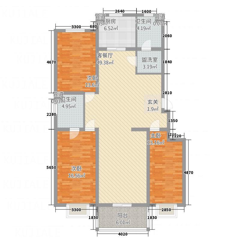 空港国际148.67㎡1#楼a户型3室2厅2卫