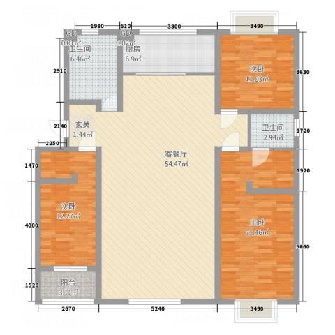 普兰银河花园3室1厅2卫1厨168.00㎡户型图