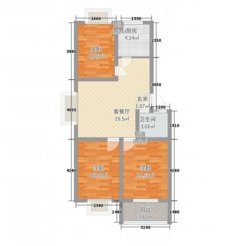 普兰银河花园3室1厅1卫1厨90.00㎡户型图