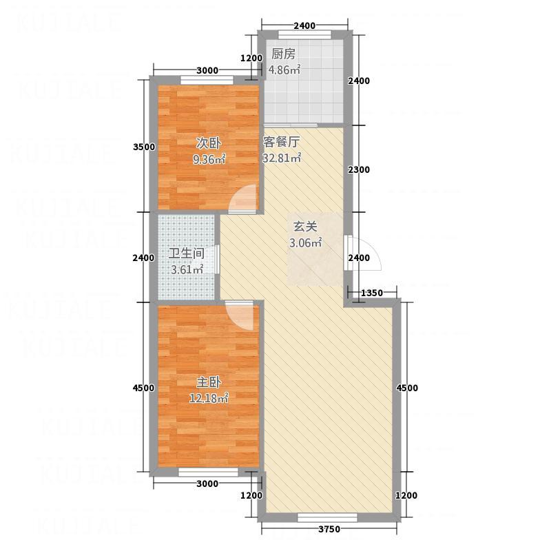巴黎庄园82.45㎡户型2室2厅1卫