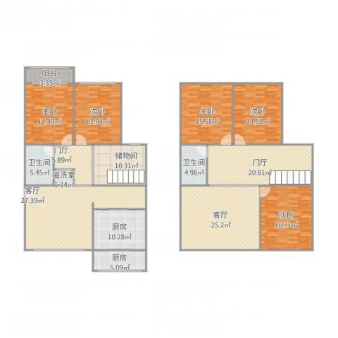 铁路南苑190复式5室3厅2卫2厨261.00㎡户型图