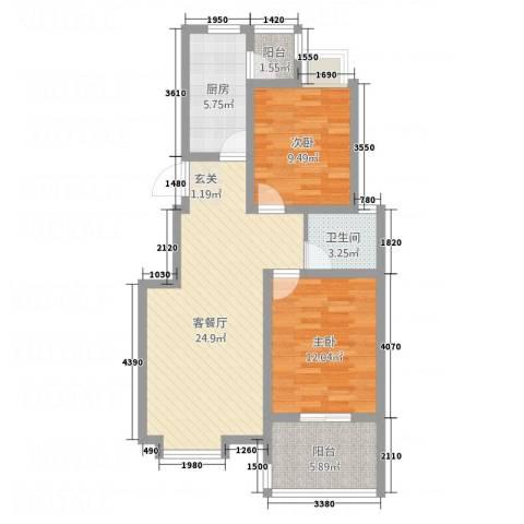 大顺花园2室1厅1卫1厨91.00㎡户型图