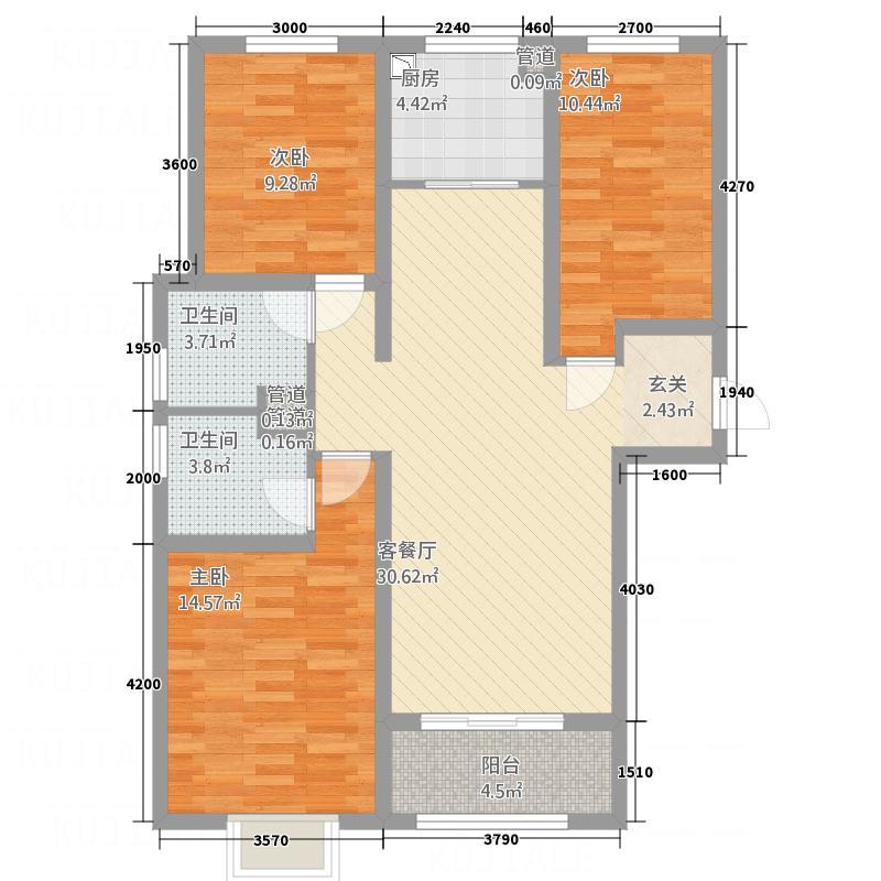 东胜湾语墅115.00㎡高层户型3室2厅2卫1厨