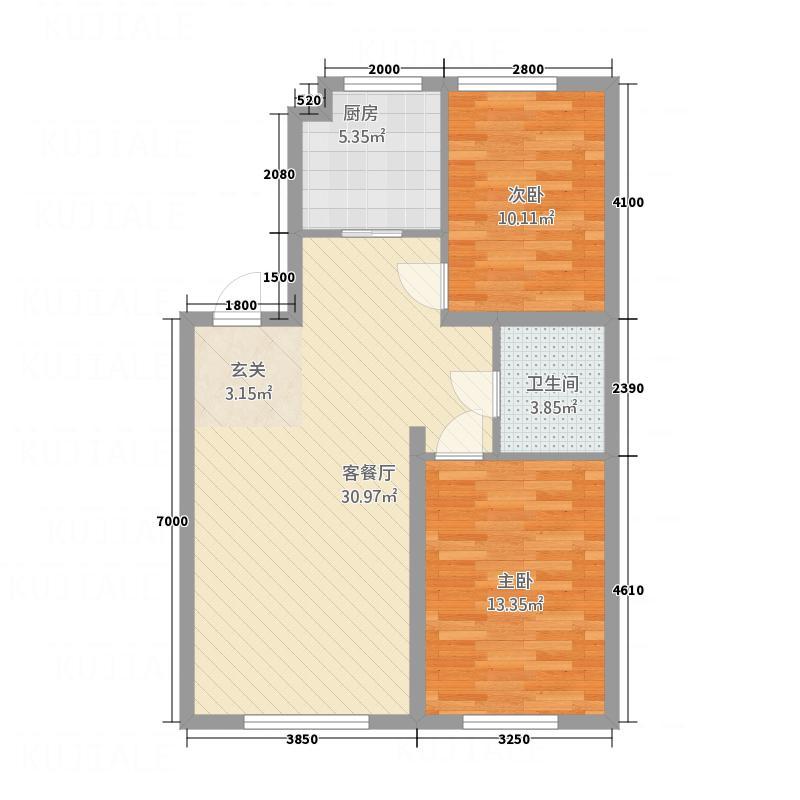 南湖嘉苑1.84㎡9184户型2室2厅1卫1厨