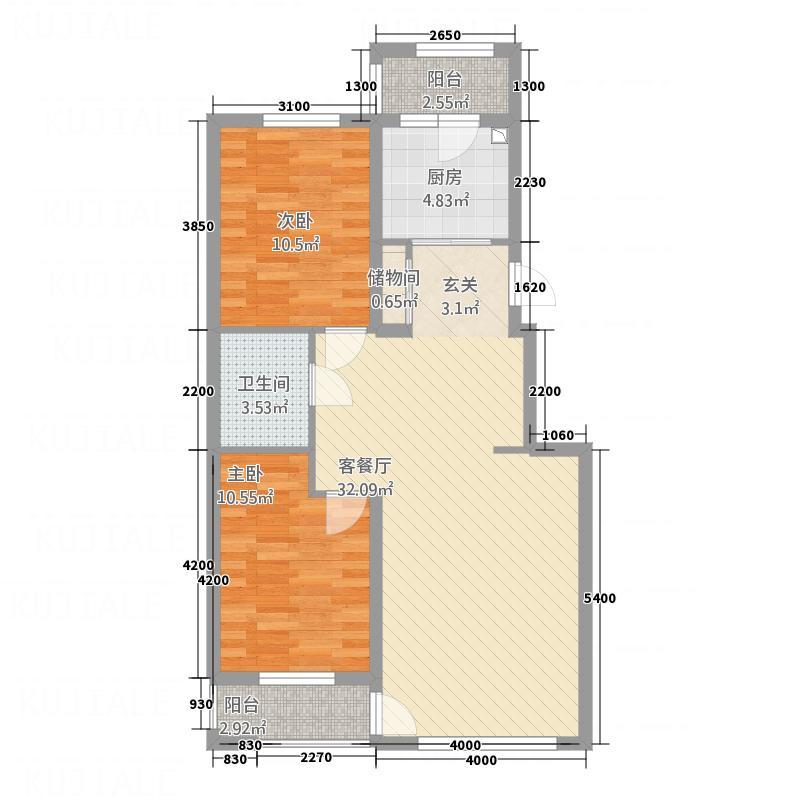 南湖嘉苑9022户型2室2厅1卫1厨