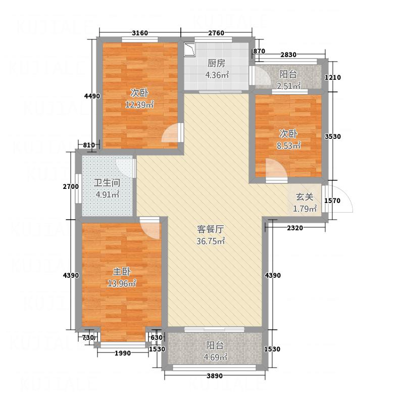 状元府邸126.84㎡A户型3室2厅1卫1厨