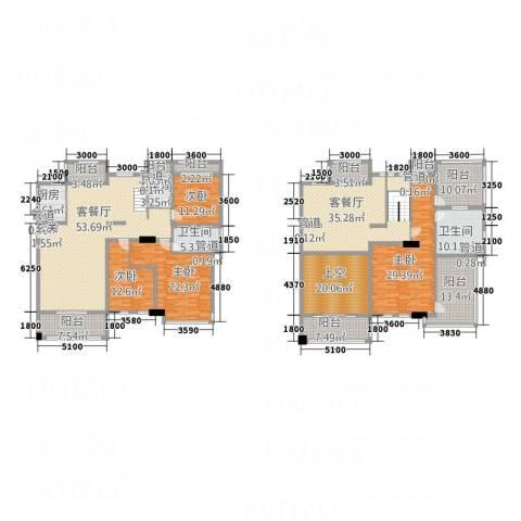 红河云岭・盛世佳园4室2厅3卫1厨258.74㎡户型图