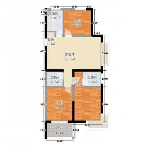 兴业春天二、三期3室1厅2卫1厨74.66㎡户型图