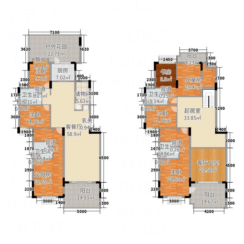 富龙翡翠欧庭333.63㎡1栋1、2、3单元01、02户型7室3厅4卫1厨