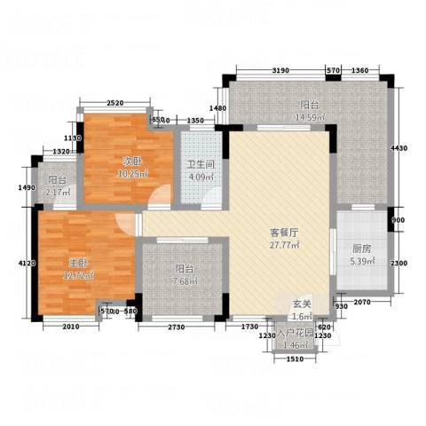 仰森江畔2室1厅1卫1厨86.13㎡户型图