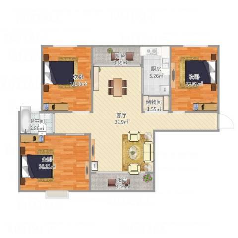 丽泽梅傲苑101平方3室1厅1卫1厨125.00㎡户型图