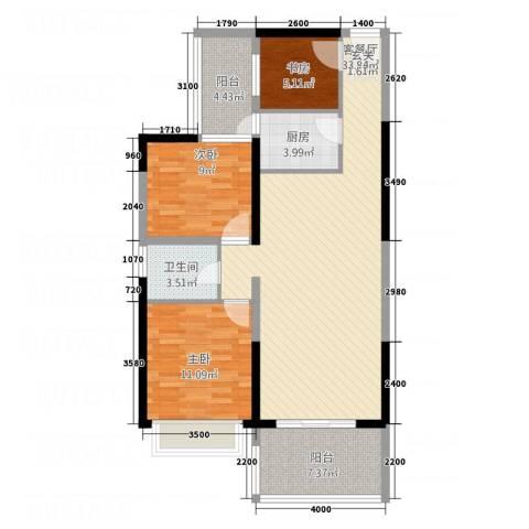 万和乐华花园3室1厅1卫1厨78.35㎡户型图