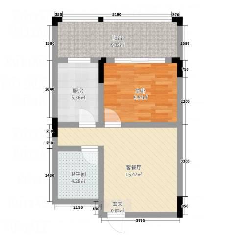 仰森江畔1室1厅1卫1厨59.00㎡户型图
