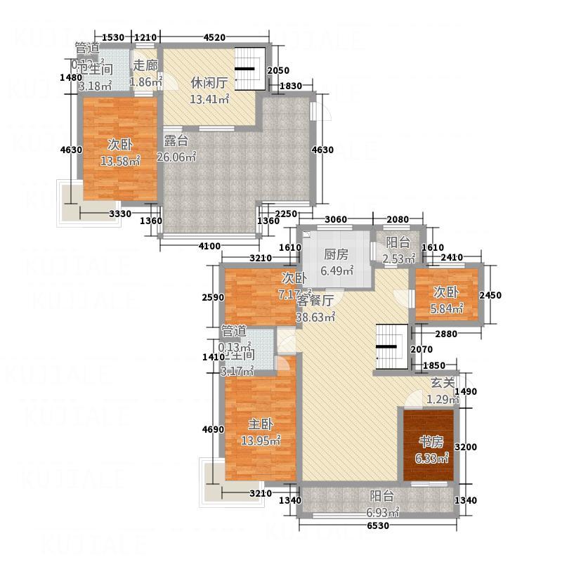 尚品高层住宅楼215.10㎡-户型5室3厅2卫1厨
