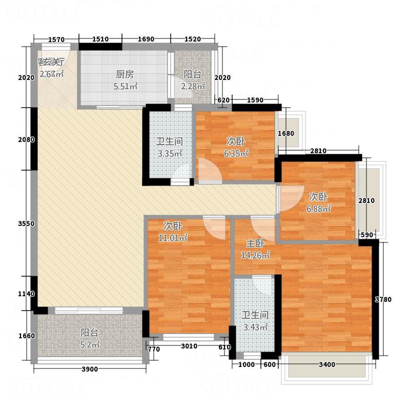 永福翰林苑11.16㎡2幢05户型4室2厅2卫1厨