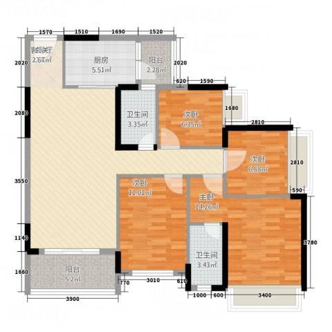 永福翰林苑4室1厅2卫1厨90.08㎡户型图