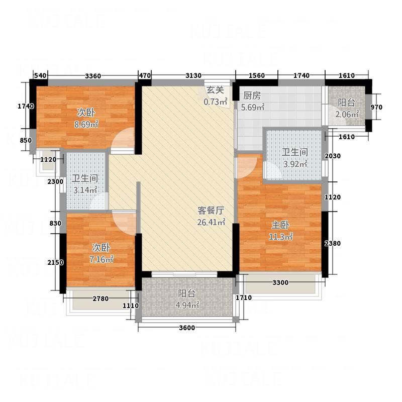 永福翰林苑3、4幢06户型3室2厅2卫1厨