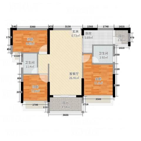 永福翰林苑3室1厅2卫1厨73.31㎡户型图