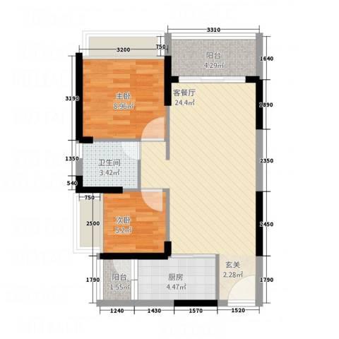 永福翰林苑2室1厅1卫1厨52.30㎡户型图