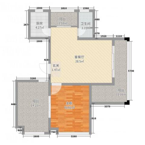 仰森江畔1室1厅1卫1厨88.00㎡户型图