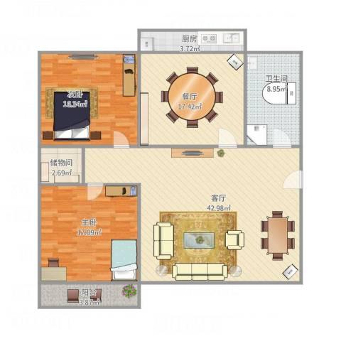 甸柳小区2室2厅1卫1厨150.00㎡户型图