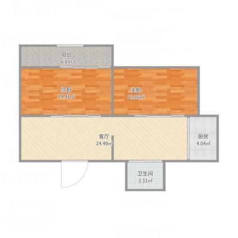 互助南里2室1厅1卫1厨89.00㎡户型图
