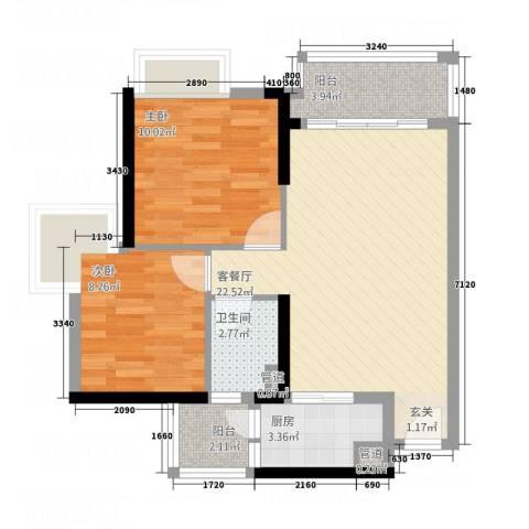 润宇旺江楼2室1厅1卫1厨78.00㎡户型图