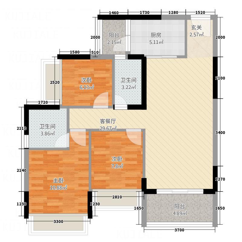 永福翰林苑7.21㎡2幢04户型3室2厅2卫1厨