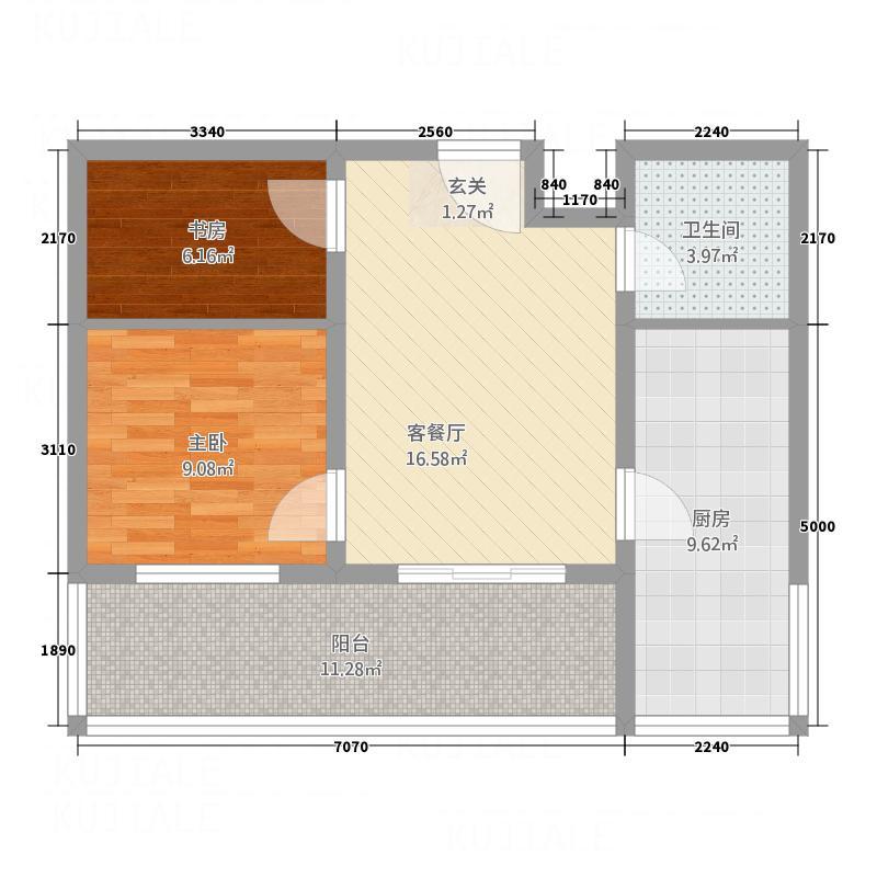 龙腾花园82.11㎡02户型2室1厅1卫1厨