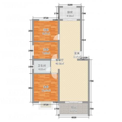 龙腾花园3室1厅1卫1厨122.00㎡户型图