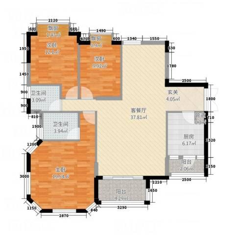 双源乐湖轩3室1厅2卫1厨139.00㎡户型图