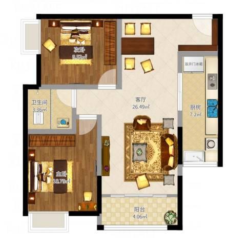 首创光和城2室1厅1卫1厨87.00㎡户型图