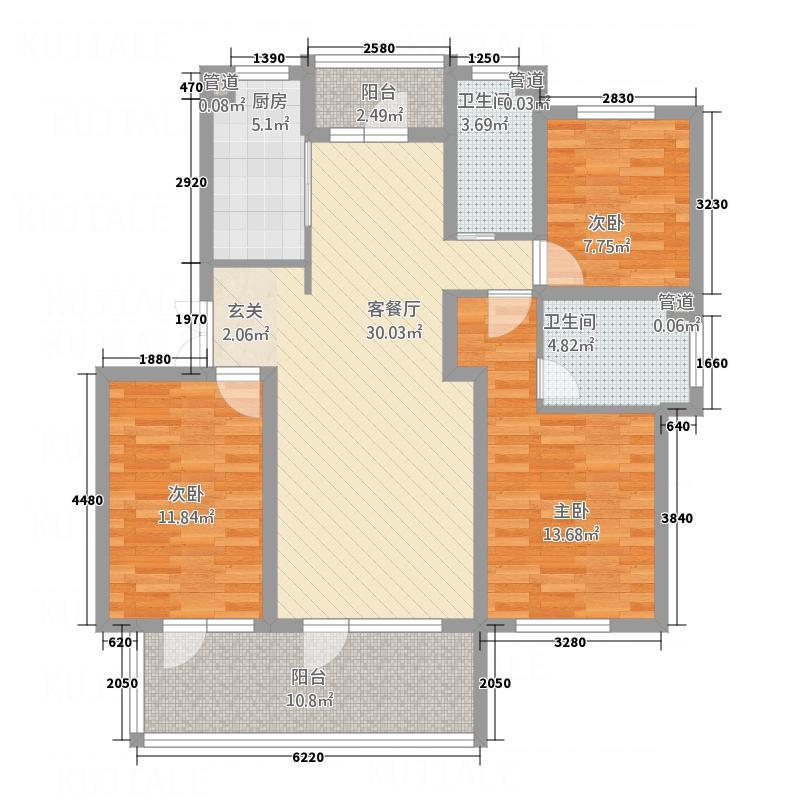 海马公馆13.00㎡A三/四/五户型3室2厅2卫