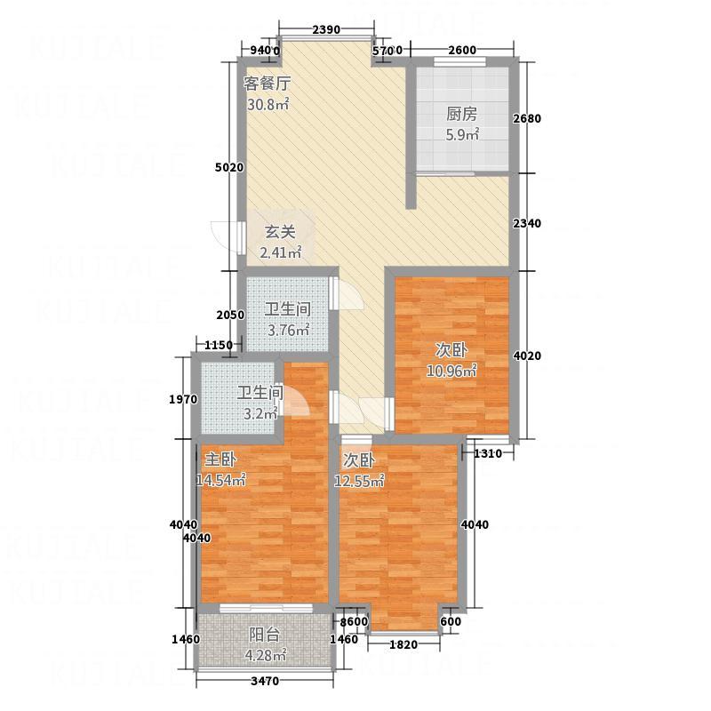 紫光华庭・丽华苑123.74㎡B户型3室2厅2卫1厨