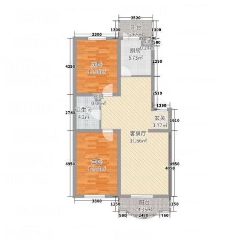天玺人家2室1厅1卫1厨108.00㎡户型图