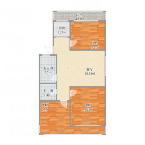 群富里3室1厅2卫1厨91.00㎡户型图