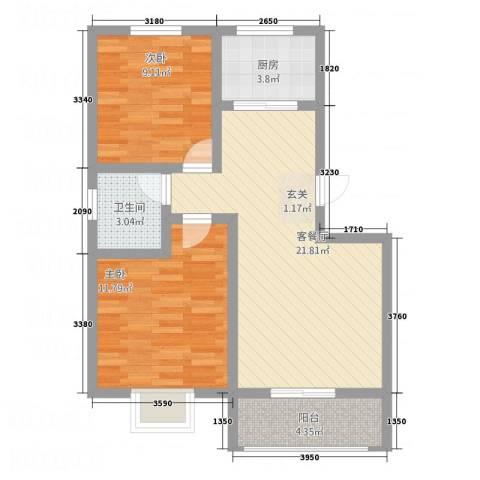 怡和国际2室1厅1卫1厨79.00㎡户型图